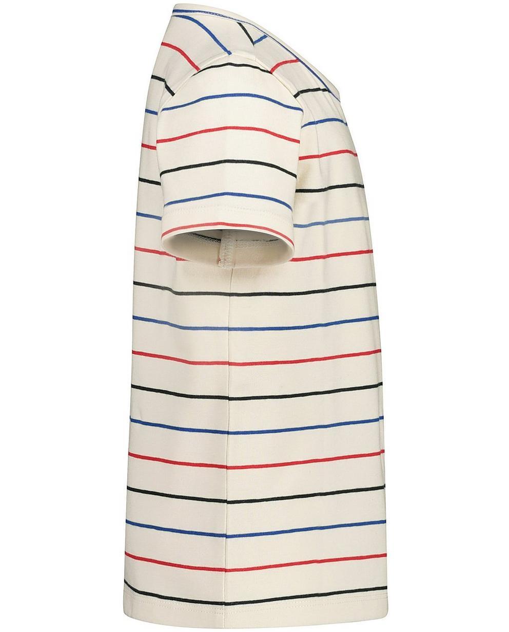 T-Shirts - Weiss - T-Shirt mit Streifen und V-Ausschnitt